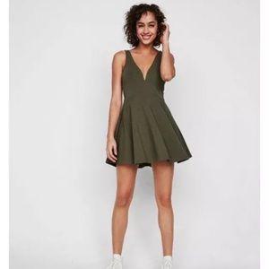 NWT Express Vneck Olive Green Skater Skort Dress